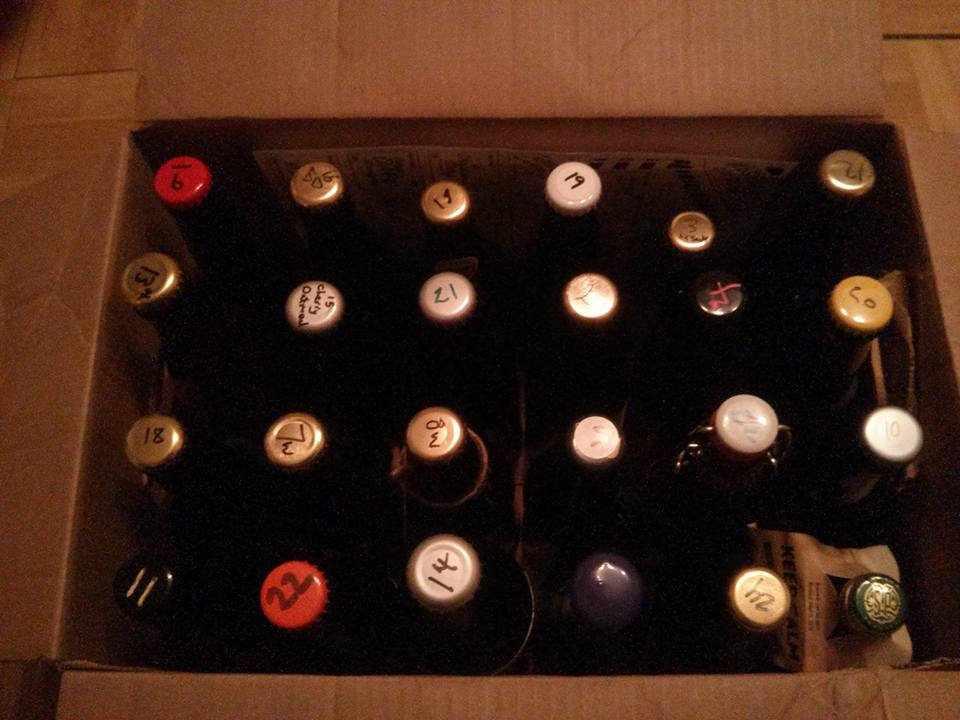 An assembled homebrew advent calendar from the West Side Exchange