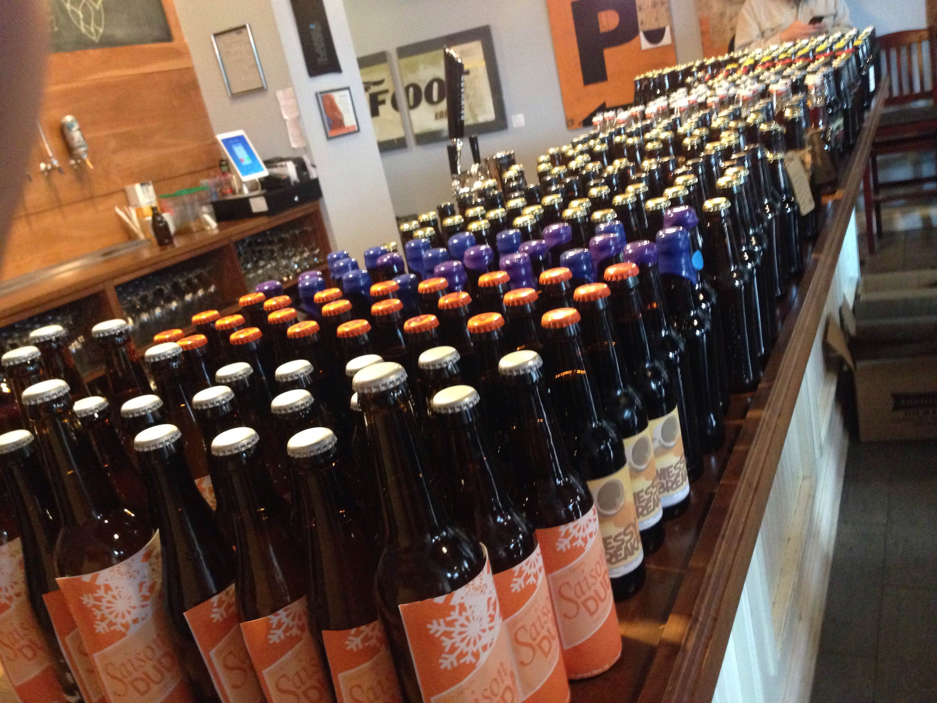 Bottles all lined up for exchange at the west side exchange