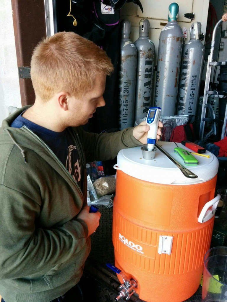 Checking the mash pH on the Cookie Monster Stout